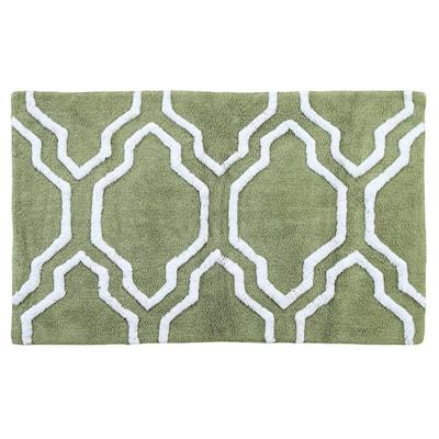 Green/White Color 21 in. x 34 in. Cotton Latex Spray Non-Skid Backing Sage Quatrefoil Pattern Machine Washable Bath Rug