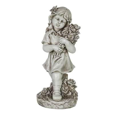 Solar Girl with Flower Bouquet Garden Statue