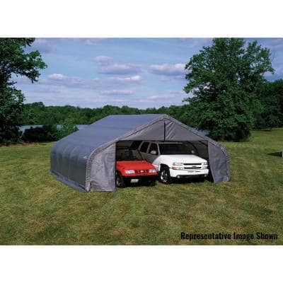 22 ft. W x 24 ft. D x 13 ft. H Grey Steel and Polyethylene Garage Without Floor w/ Corrosion-Resistant Steel Frame