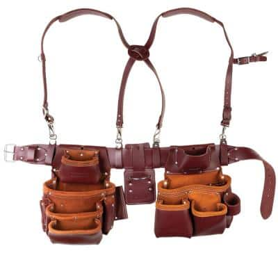 16 in. Brown Leather 15-Pocket Pro Framer's Combo Tool Pouch with Suspenders (5-Piece)