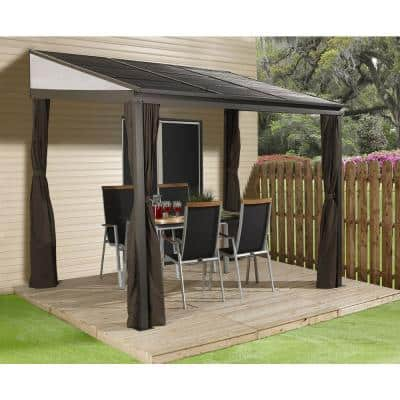 10 ft. D x 12 ft. W Portland Wall-Mounted Aluminum Gazebo with Galvanized Steel Roof Panels and Mosquito Netting
