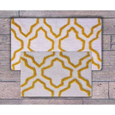 24 in. x 17 in. and 34 in. x 21 in. 2-Piece Cotton Bath Rug Set in White and Yellow
