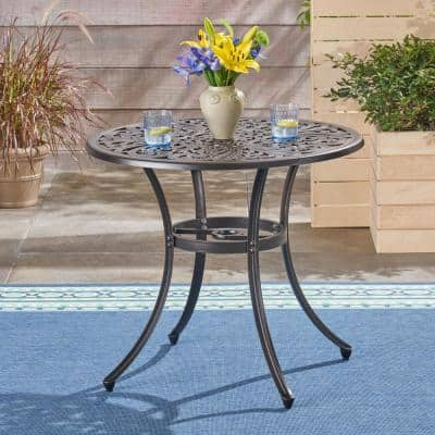Vigo Shiny Copper Round Aluminum Outdoor Dining Table