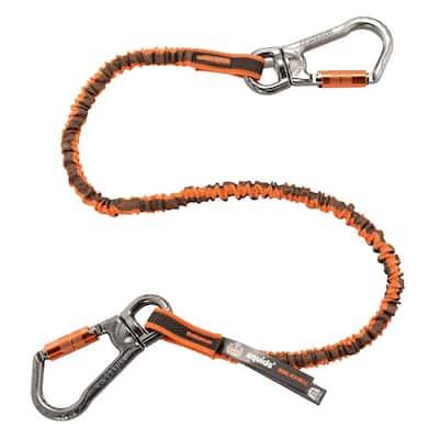25 lbs. Orange and Gray Standard Triple-Locking Dual Carabiner with Swivel Tool Lanyard