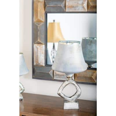 20 in. Gray Lamp-Style Glass Candle Holder with Silver Aluminum Base