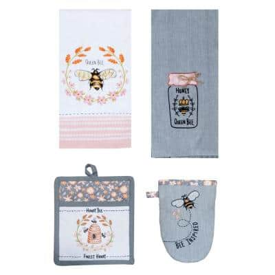 Bee Inspired Multi-Colored Kitchen Textiles (Set of 4)