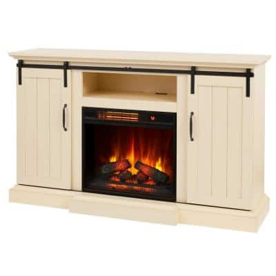 Kerrington 60 in. Freestanding Media Console Electric Fireplace with Sliding Barn Door in Ivory