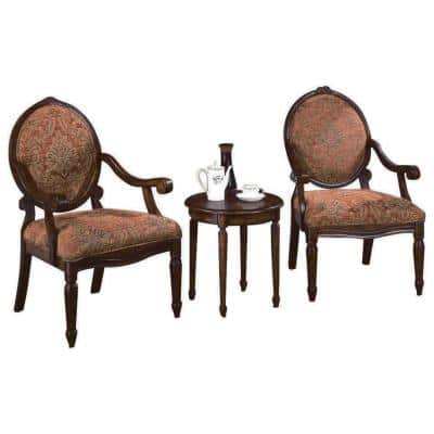 Mercury Honey Walnut 3-Piece Traditional Accent Chair with End Table Set