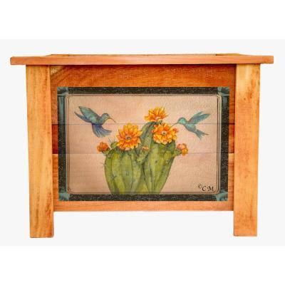 Hollis 22 in. Cedar Planter with Cactus/Hummingbird Art