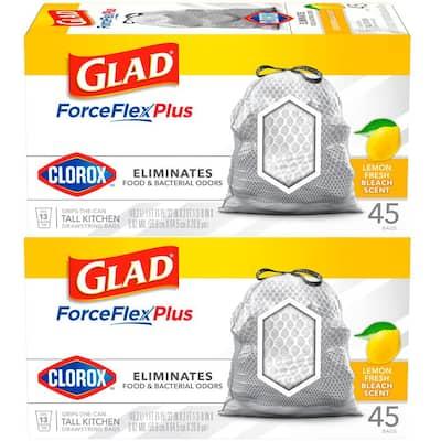ForceFlex Plus 13 Gal. Lemon Fresh Bleach Scent Grey Kitchen Drawstring Trash Bags with Clorox (45-Count, 2-Pack)