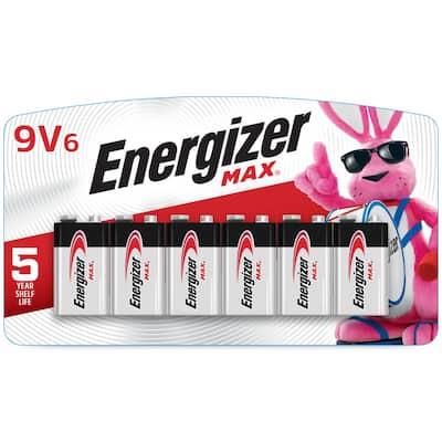 MAX 9V Batteries (6 Pack), 9 Volt Alkaline Batteries