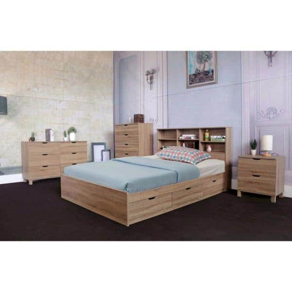 Benzara Modern Style Brown Twin Size Chest Bed With 3 Drawers Bm141887 The Home Depot