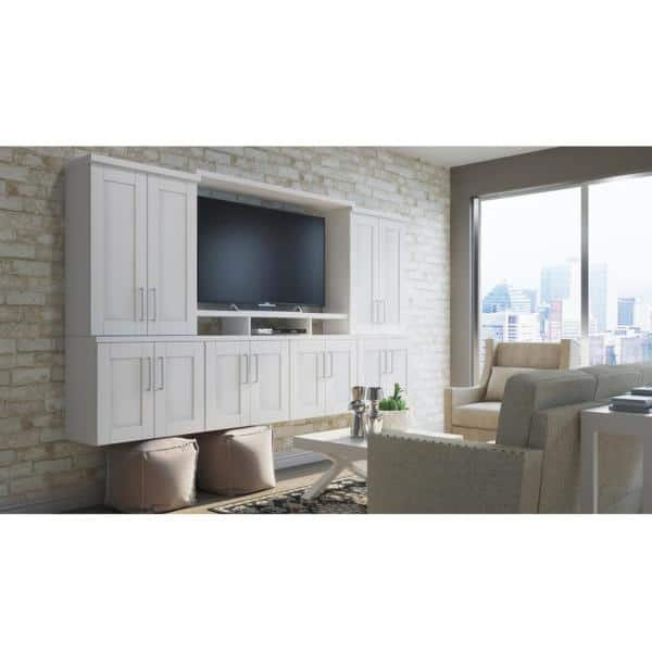 Hampton Bay Satin White 0 65 In X 41 25 10 94 Shaker Wall Cabinet Decorative End Panel Kaep1242 Ssw The Home Depot