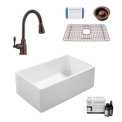 Ward All-in-One Farmhouse Fireclay 33 in. Single Bowl Kitchen Sink with Pfister Faucet in Bronze and Disposal Drain
