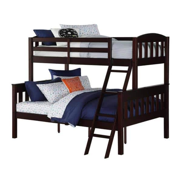 Dorel Living Airlie Twin Over Full Espresso Wood Bunk Bed | The Home Depot