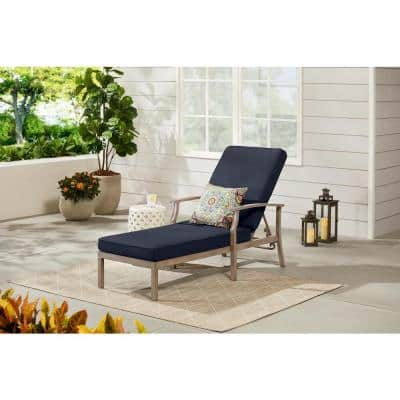 Beachside Rope Look Wicker Outdoor Patio Chaise Lounge with CushionGuard Midnight Navy Blue Cushions