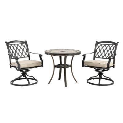 3-Piece Cast Aluminum Outdoor Bistro Chair Set Tile-Top Bistro Table and Diamond-Mesh Swivel Chairs with Beige Cushions