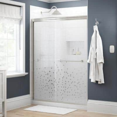 Crestfield 60 in. x 70 in. Traditional Semi-Frameless Sliding Shower Door in Nickel and 1/4 in. (6mm) Mozaic Glass