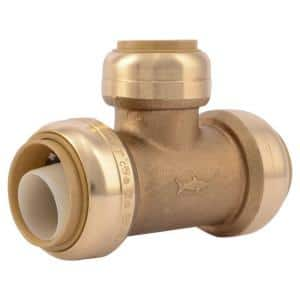 1 in. x 1 in. x 3/4 in. Push-to-Connect Brass Reducing Tee Fitting