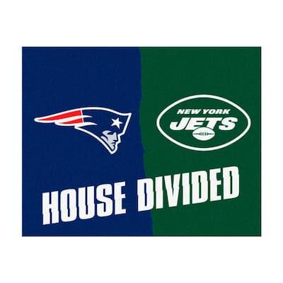NFL Patriots / Jets Navy House Divided 3 ft. x 4 ft. Area Rug