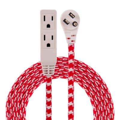 8 ft. 3-Outlet Braided Extension Cord, Red/White