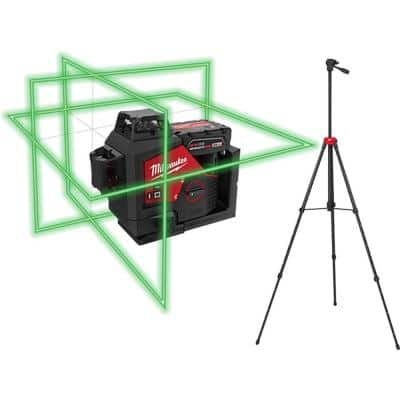 M12 12-Volt Lithium-Ion Cordless Green 250 ft. 3-Plane Laser Level Kit with 4.0 Ah Battery, Charger, Case and Tripod