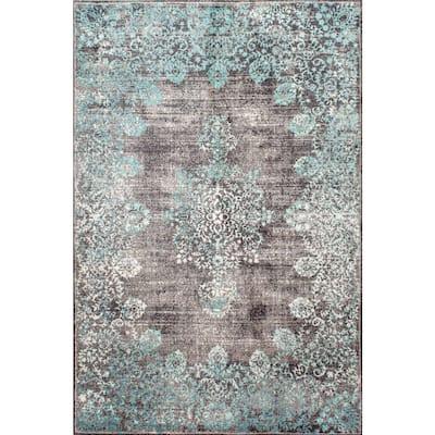Lacy Vintage Floral Teal 9 ft. x 12 ft. Area Rug