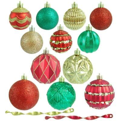 Red, Green and Gold Shatterproof Christmas Ornament Assortment (100-Pack)
