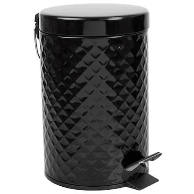 0.79 Gal. Black Textured Waste Bin