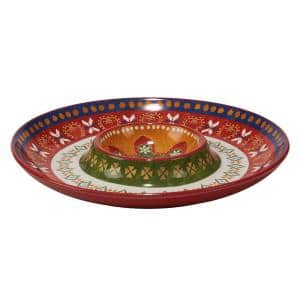 Monterrey 13.5 in. Multi-Colored Chip and Dip Server