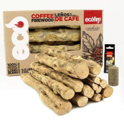 Ecofire 100% Natural Coffee Lump Fire Wood and Free Fire Starters, 2-Pack