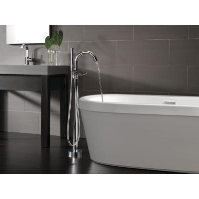 Synergy 68 in. Acrylic Flatbottom Bathtub with Integrated Waste and Floor-Mount Tub Filler in White