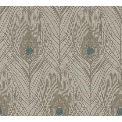 Strippable Prosperity Bronze Feather Wallpaper