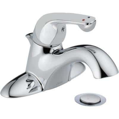 Commercial 4 in. Centerset Single-Handle Bathroom Faucet with Metal Drain Assembly in Chrome