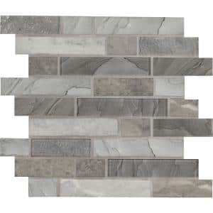 Tarvos Interlocking 11.81 in. x 11.81 in. x 6 mm Textured Glass Mesh-Mounted Mosaic Tile (0.97 sq. ft.)