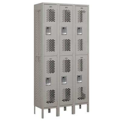72000 Series 36 in. W x 78 in. H x 12 in. D Double Tier Vented Metal Locker Unassembled in Gray