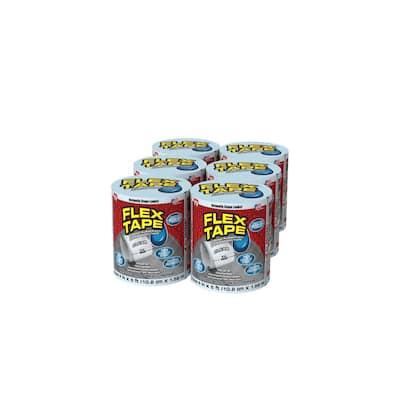 4 in. x 5 ft. Flex Tape Pool Clear Strong Rubberized Waterproof Tape (6-Piece)
