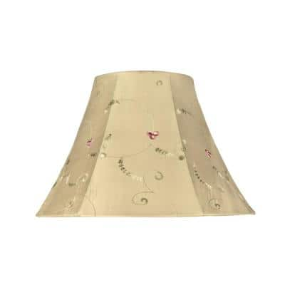13 in. x 9 in. Gold and Floral Embroidered Design Bell Lamp Shade