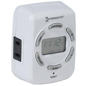 15 Amp Plug-In Digital Indoor Timer for Lights and Decorations - White