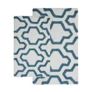 34 in. x 21 in. and 36 in. x 24 in. 2-Piece Cotton Bath Rug Set in White and Arctic Blue