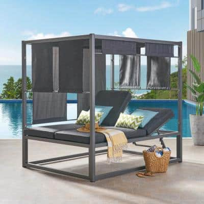Heminger Gray Metal Outdoor Day Bed with Dark Gray Cushion