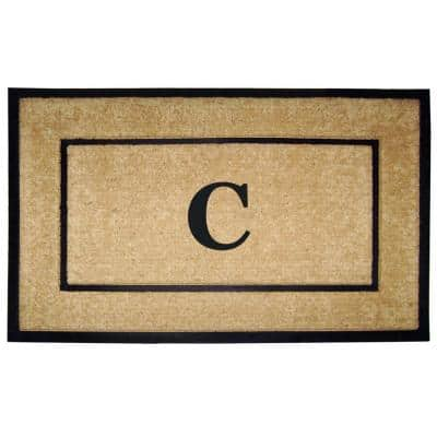 DirtBuster Single Picture Frame Black 30 in. x 48 in. Coir with Rubber Border Monogrammed C Door Mat