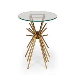 Helios Gold with Tempered Glass Side Table