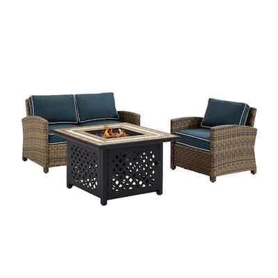 Bradenton 3-Piece Wicker Patio Fire Pit Conversation Set with Navy Cushions