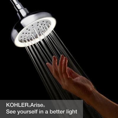 Arise 1-Spray Pattern 5.6875 in. Lighted Wall-Mount Fixed Shower Head in Polished Chrome