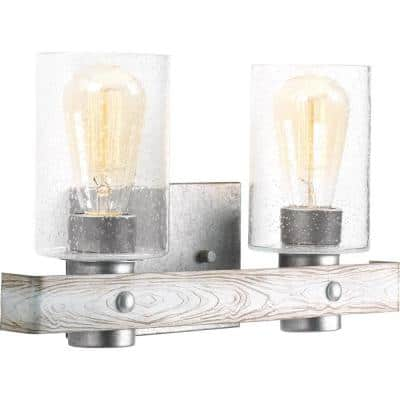 Gulliver Collection 2-Light Galvanized Finish Clear Seeded Glass Coastal Bath Vanity Light