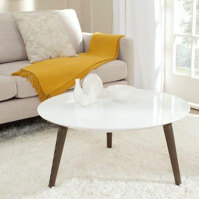 Josiah 32 in. White/Brown Medium Round Wood Coffee Table