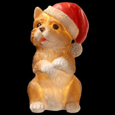 9 in. Christmas Dog Ornament with LED Battery Operated Lights