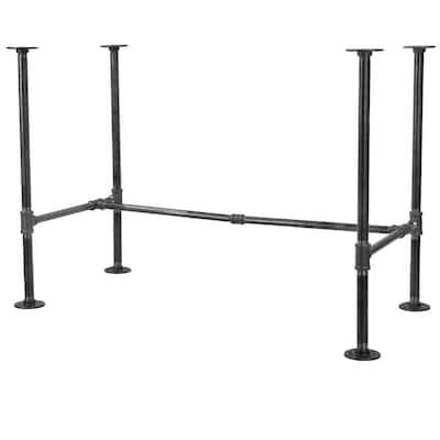 """3/4 in. Black Steel Pipe 3.5 ft. L x 28.5 in. H """"H"""" Design Desk Kit"""