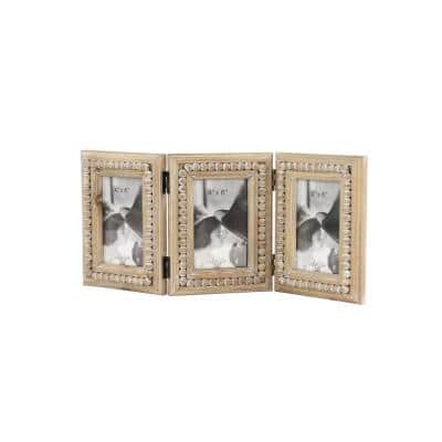4 in. x 6 in. Natural Brown Wooden 3-Opening Folding Picture Frame